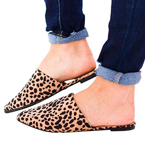 FISACE Womens Leopard Backless Slip On Pointed Toe Flat Sandals Low Heel Mule Dress Loafer Slide Slipper Shoes