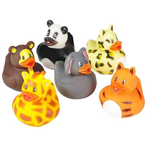 Rhode Island Novelty 2' Zoo Animal Rubber Ducks (12 Piece)