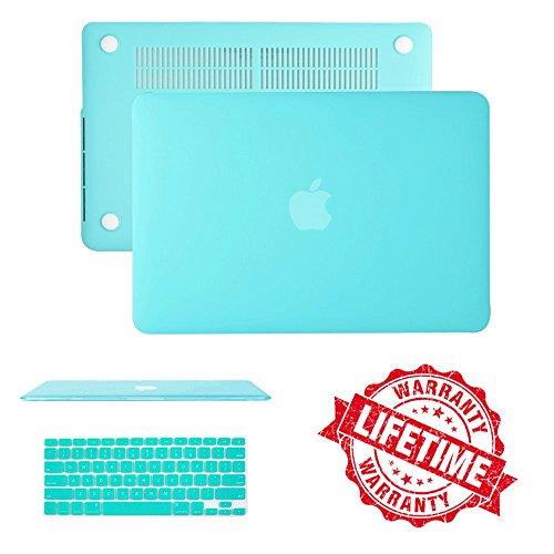 MacBook Air 11 Case Cover, IC ICLOVER Ultra Slim Light Weight Rubberized Matte Hard Plastic Protective Case Cover & Keyboard Cover for MacBook Air 11.6(A1465 /A1370)- Turquoise Blue
