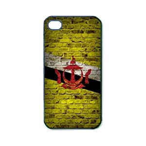 Flag of Brunei Brick Wall Design iPhone 4s Black Case