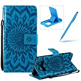 Wallet Case for Galaxy S10 Plus,Strap Flip Case for Galaxy S10 Plus,Herzzer Retro Elegant [Blue Mandala Flower Pattern] Stand Magnetic Leather Case with Soft TPU