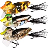 TRUSCEND Fishing Lures for Bass,Topwater Lures Duck Fishing Baits with Treble Hooks Fishing Lure Duck Lures Baits (DUCK-3PC)