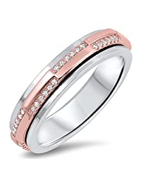 Rose Gold-Tone White CZ Spinner Wedding Ring 925 Sterling Silver Band Sizes 5-12