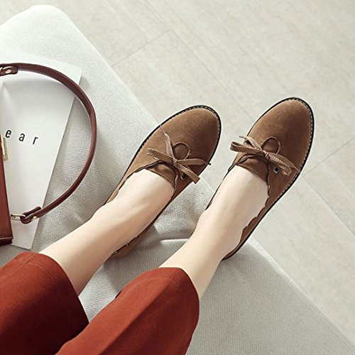 Brown Women Casual Brogue Melady Flat Shoes nPOqZ8R1wx