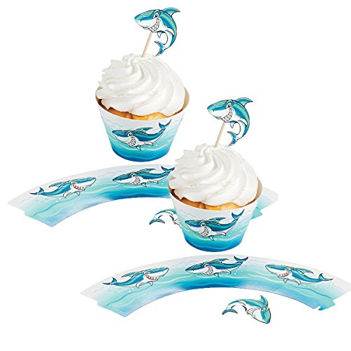 - Fun Express Shark Cupcake Wrappers with Picks - 200 Pieces