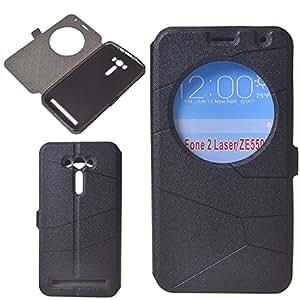 Fundas Zenfone 2 Laser ZE550KL, ZEEKAR® [Negro] Window View Case Flip Cover Carcasa Moda Plegable Funda de Cuero con Ventana de Círculo y Funciones de Apoyo para Asus Zenfone 2 Laser ZE550KL (5.5 Pulgadas)