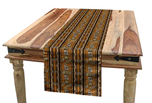 Ambesonne Ethnic Table Runner, African Culture Tribal Ornamental Stripes with Earthy Classical Timeless Motifs, Dining Room Kitchen Rectangular Runner, 16 W X 72 L Inches, -