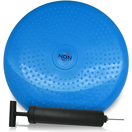 Ndn Line Inflated Air Stability Wobble Cushion Exercise Fitness Core Balance Disc  35Cm 14In Diameter  Blue