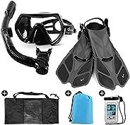 Odoland Snorkel Set 6-in-1 Snorkeling Packages, Diving Mask with Splash Guard Snorkel and Adjustable Swim Fins