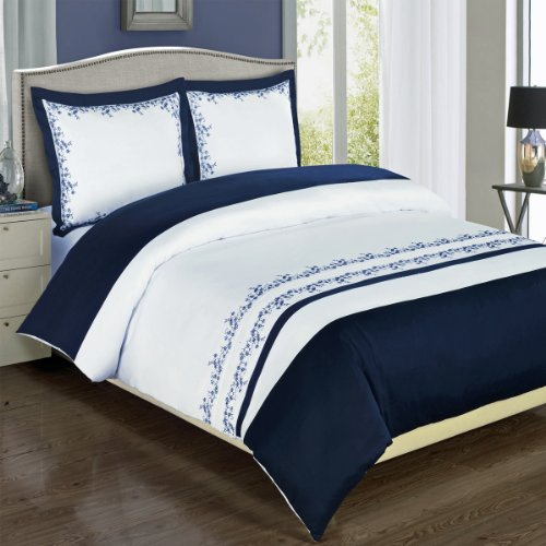 Navy and White Amalia 3-piece Full / Queen Embriodered Comforter Cover (Duvet-Cover-Set) 100 % Cotton 300 TC