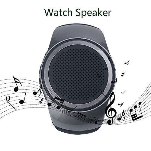 SUERSUN Speaker Watch, Wearable Speaker Mini Multifunctional Bluetooth Sports Speaker, TF Card MP3 Music Player, FM Radio, Handsfree, Selfie, Black