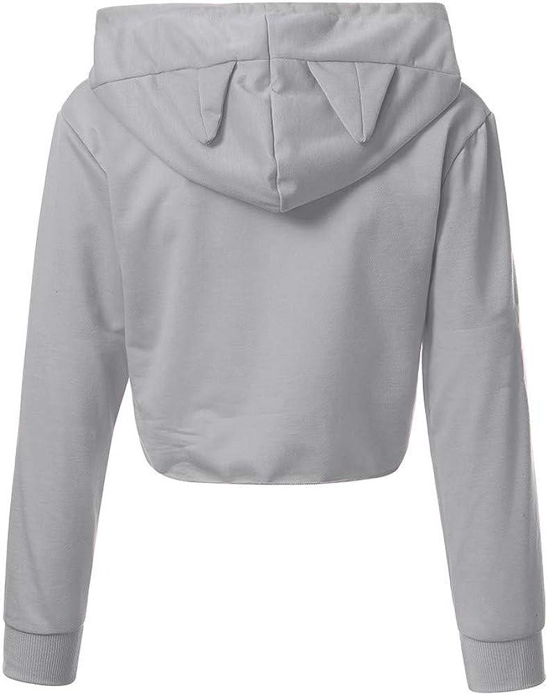 STORTO Women Cat Print Crop Tops Casual Long Sleeve Cat Ear Sweatshirt Short Hoodies Blouse