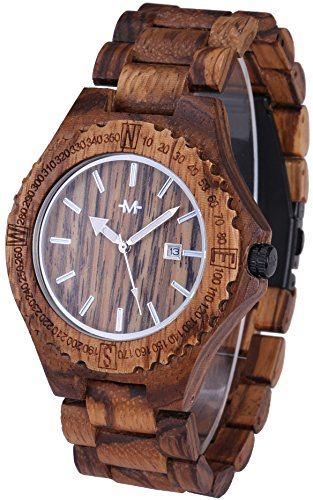 Marino Mens Wooden Watch - Wrist watches for Men - Dress Wood Watch - Honey Brown - Wood Band
