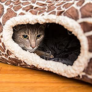 Easyology Cat Tunnel, Interactive Play Toy with Crinkle Sound, Fun For Hiding or Zooming In and Out, 100% Pet Friendly, Foldable, Collapsible, Easy to Clean Giraffe