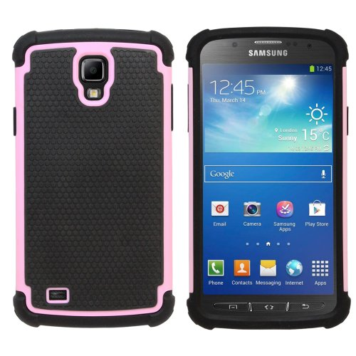 Fenzer Pink Hybrid Rubber Matte Hard Case Cover for Samsung Galaxy S4 Active Cell Phone (Galaxy Case Hybrid S4 Pink)