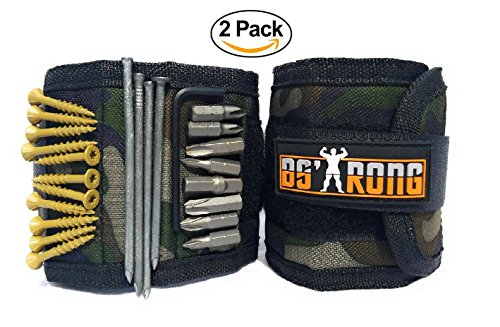 BSTRONG Magnetic Wristband With Super Strong Powerful Magnets Holds Bolts,Screws, Nails,Drill Bits. Best Unique Gift Tool Belt Cuff Bracelet (Army)