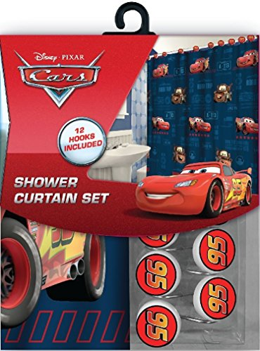 Disney Marvel New 13pcs Set (Shower Curtain with Hooks) OR 14pcs Set (Shower Curtain Set with Bath Memory Foam Mat) (Cars, 13pcs Set - Shower Curtain Set) (Disney Cars Shower Curtain)