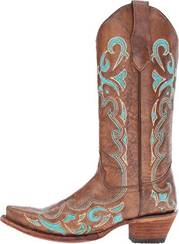 Leather Snip Toe Western Boots (Corral Boots Women's L5193 Brown/Turquosie Boot)