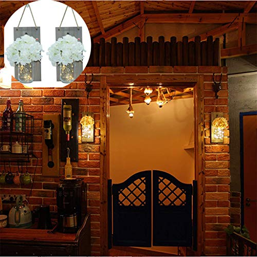 AIUSD Country Rustic Mason Jar Wall Sconce Hanging Mason Jar Sconces with Led Fairy ()