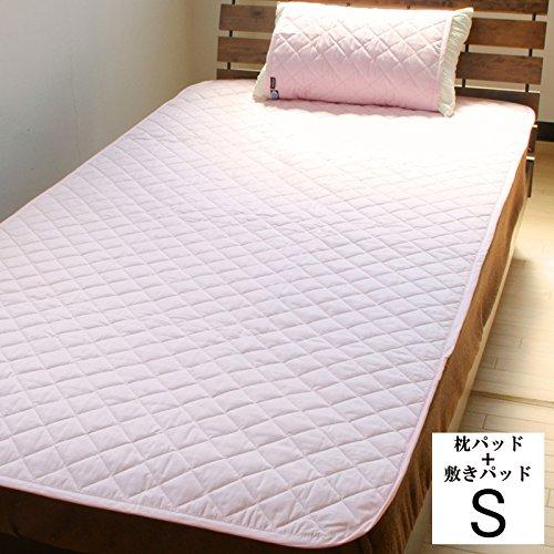 【19色展開】日本製 アウトラストひんやり敷パッド&枕パッド シングル ピンク B0085SI4M0 ピンク ピンク