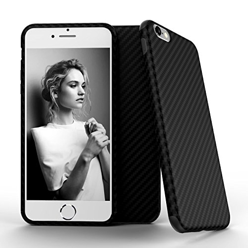 [iPhone 6s Case, Roybens Super-Slim TPU Shockproof Case Cover with Carbon Fiber Hybrid Anti-slip Grip Back Pattern for Apple iPhone 6 & 6s 4.7 Inch, Soft Flexible Protective Shell Guard Black] (Carbon Fiber Protective Cover)