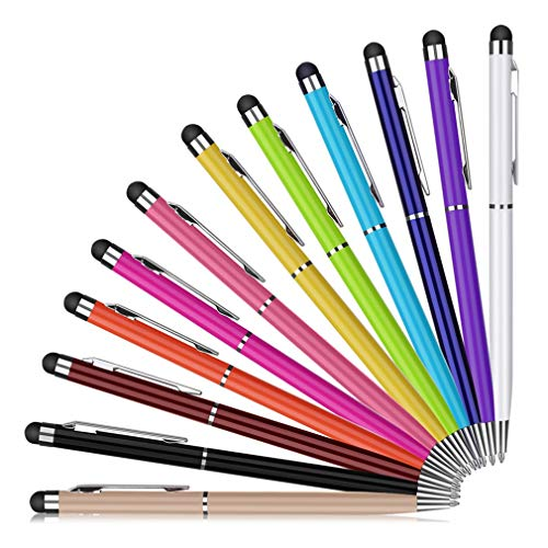 Capacitive Stylus Pen 12 Pack 2 in 1 Tablet Stylus Pens Compatible for Touch Screens Devices Retractable Ballpoint Pens for Universal Phones Samsung Galaxy HTC Kindle by ReachTop