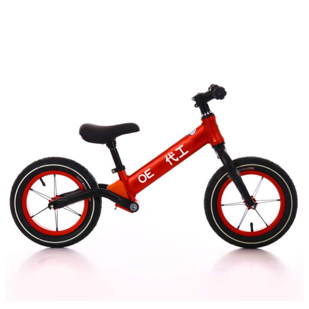 YSH Scooter De Bicicleta para Niños Balance Bike, Rueda De Goma A Prueba De Explosiones, Adecuada para Edades De 2 A 6 Años, Altura: 80-120 Cm, Altura Ajustable,Red
