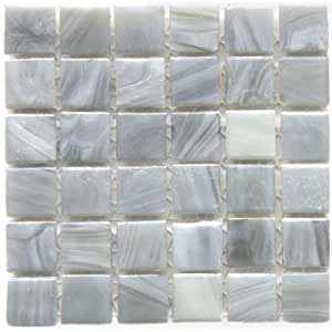 12 X 12 In Monet Grey Recycled Glass Gray Mosaic Tile Kitchen Bathroom Backsplash Tiling