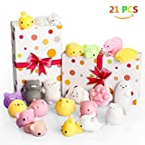 Mochi Squishy Toys, Halobang Squishes 21 Pcs Adorable Mochi Animals Stress Relieving Toys Kawaii Squish Cat Squeeze Toys Gift for Kids & Adults