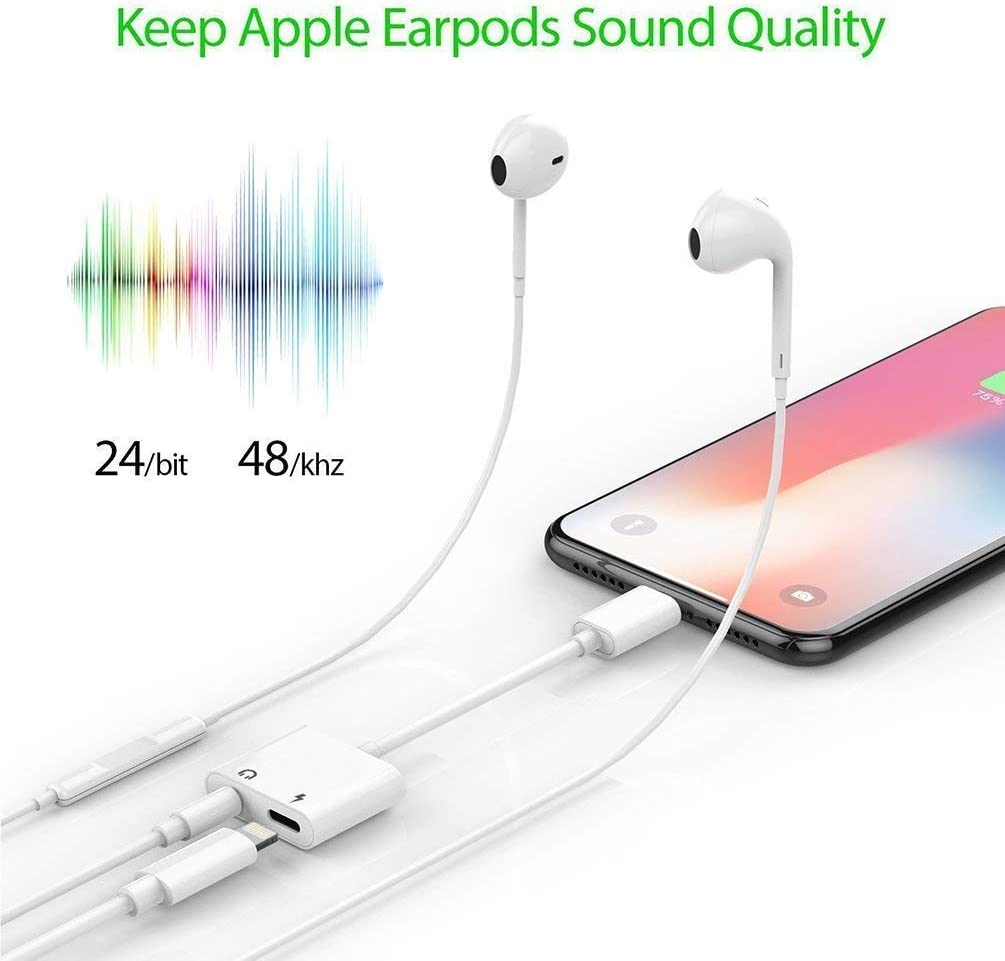 Audio+Charge+Volume Control Headphone Adapter for iPhone X//XS//11 Adapter AUX Audio Jack Charge Adapter Car Charger Dual Earphone Cable Converter Compatible for iPhone X//7 Plus //8//8P Support All iOS
