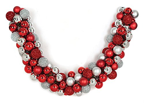 Autograph Foliages A-151903 6 ft. Mixed Ball Garland44; Red & Silver (Foliage Christmas Autograph)