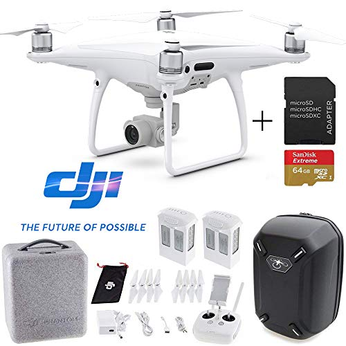 (DJI Phantom 4 PRO Professional Drone Aircraft Deluxe Bundle - 64GB SD Card + Hardshell Backpack + Spare Intelligent Flight Battery + RoundTheClock Cleaning Cloth)