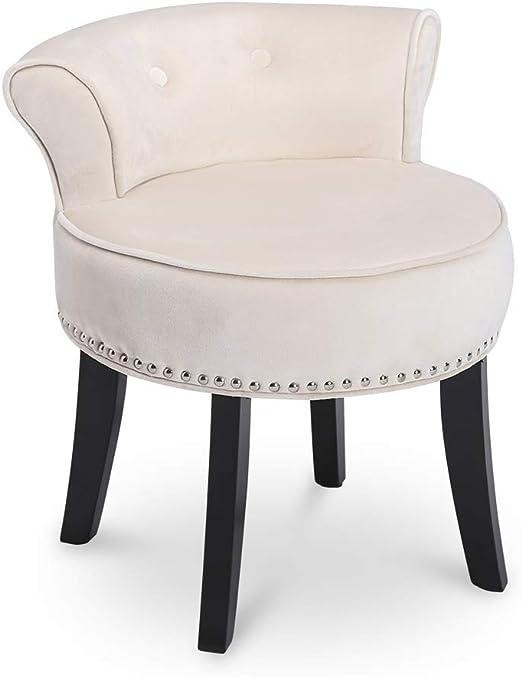 Vanity Stool Black Make-up Chair Bedroom Bathroom Metal Backless Classic