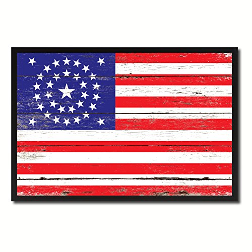 Civil War 34 Stars Military Flag Vintage Canvas Print Picture Frame Home Decor Man Cave Wall Art Collection Gift Ideas