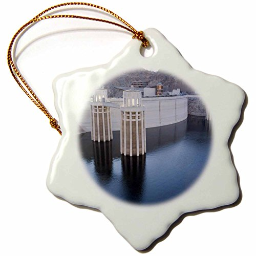 Lake Water Mead Level (3dRose orn_92239_1 Low Water levels at The Hoover Dam, Lake Mead, NV US29 MPR0047 Maresa Pryor Snowflake Porcelain Ornament, 3-Inch)