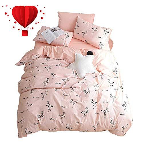 BuLuTu Flamingo Queen Duvet Cover Pink Cotton for Teen Girls Women,Cute 3 Pieces Kids Bedding Sets Zipper Closure with Corner Ties,Queen Duvet Cover Set,Lightweight,Durable,No Comforter from BuLuTu