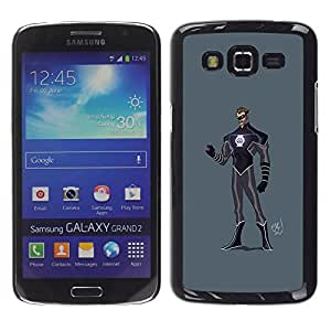 Shell-Star Arte & diseño plástico duro Fundas Cover Cubre Hard Case Cover para Samsung Galaxy Grand 2 II / SM-G7102 / SM-G7105 ( Superhero Costume Black Purple Mask Man )