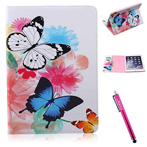 iPad Air 2 Case, Firefish iPad Air 2 Cover Firefish [Kickstand] [Card Slots] Slim Flip PU Leather Wallet [Shock Absorption] Scratch-Resistant Protect for Apple iPad Air 2 - Butterflies
