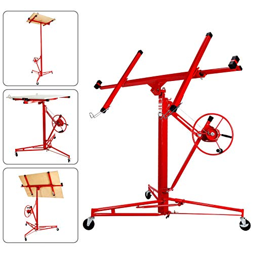 Selva 11FT Drywall Lift Rolling Panel Hoist Jack Lifter Caster Construction Lockable Tool | Ideal for Commercial Home Use | Foot Step Stop Brake Sturdy Welded Steel with Powder Coating - CE Standard