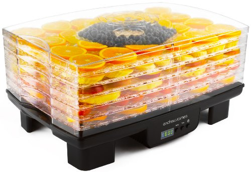 Andrew James Premium Digital Food Dehydrator, Adjustable Digital Thermostat 40-70°C, Programmable Timer, 6 Stackable Trays for Fruit and Vegetables, Low Energy Usage & Easy to Clean