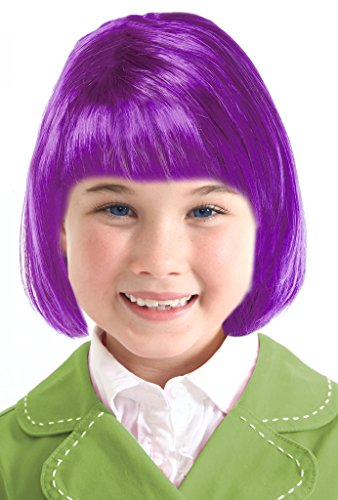 [Costume Adventure Kids Purple Wig For Girls Purple Bob Wig For Kids Clown Wig] (Purple Wig Costumes)