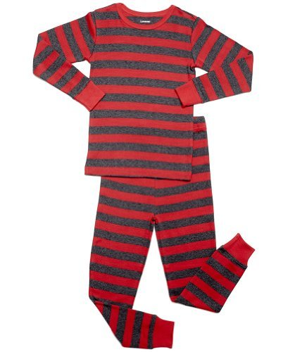 Leveret Striped 2 Piece Pajama Set 100% Cotton (4 Toddler, Red & Grey)