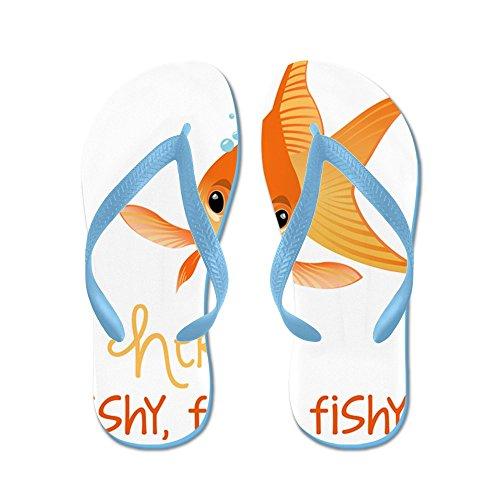 Cafepress Qui Fishy - Infradito, Divertenti Sandali Infradito, Sandali Da Spiaggia Blu Caraibico