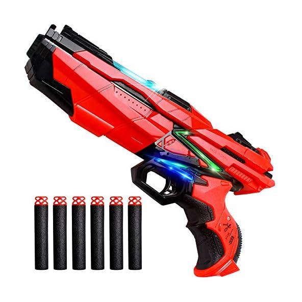 Baybee High Speed Manual Rubber Soft Bullet Blaster Gun with LED Flashing Light 6 Foam Bullets-Real Gun Toy Set for Kids-Toy Gun Pistol for Kids Boys/Metal Grey Handgun for Target Shooting Game