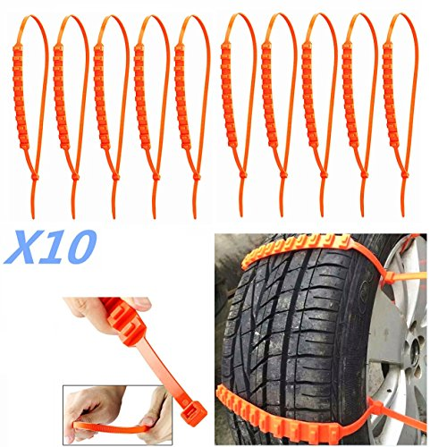 10 X Car Truck Snow Anti-skid Wheel Tire Chains Universal Fit Tyre Width...