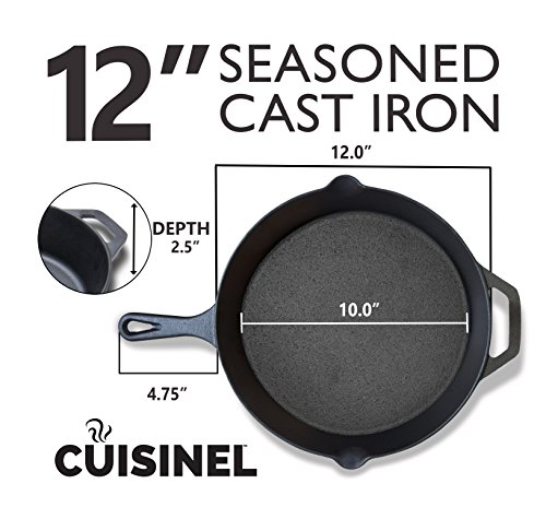 Pre-Seasoned Cast Iron Skillet 2-Piece Set (10-Inch and 12-Inch) Oven Safe Cookware | 2 Heat-Resistant Holders | Indoor and Outdoor Use | Grill, Stovetop, Induction Safe