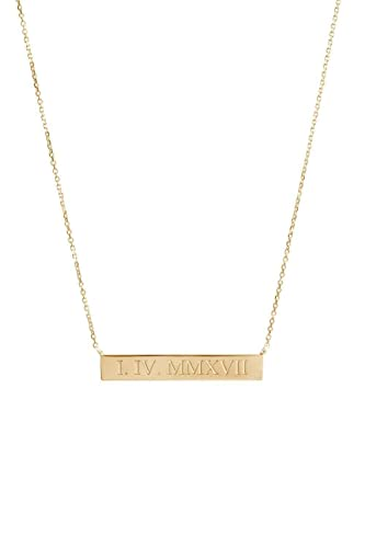 14k Solid Gold Roman Numeral Necklace PERSONALIZED  Bar Necklace Date necklace Custom Roman Numeral jewelry Wedding Date  Necklace