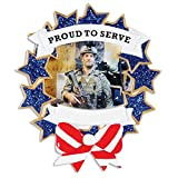 Armed Forces Picture Frame Personalized Christmas Tree Ornament by Polar X