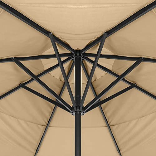 Best Choice Products 16ft Extra Large Outdoor Aluminum Polyester Patio Market Umbrella w/Cross Base and Crank Handle