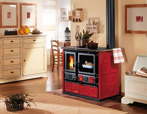 Wood-Burning-Cook-Stove-La-Nordica-Rosa-Maiolica-Bordeaux-w-Wood-Baking-Oven